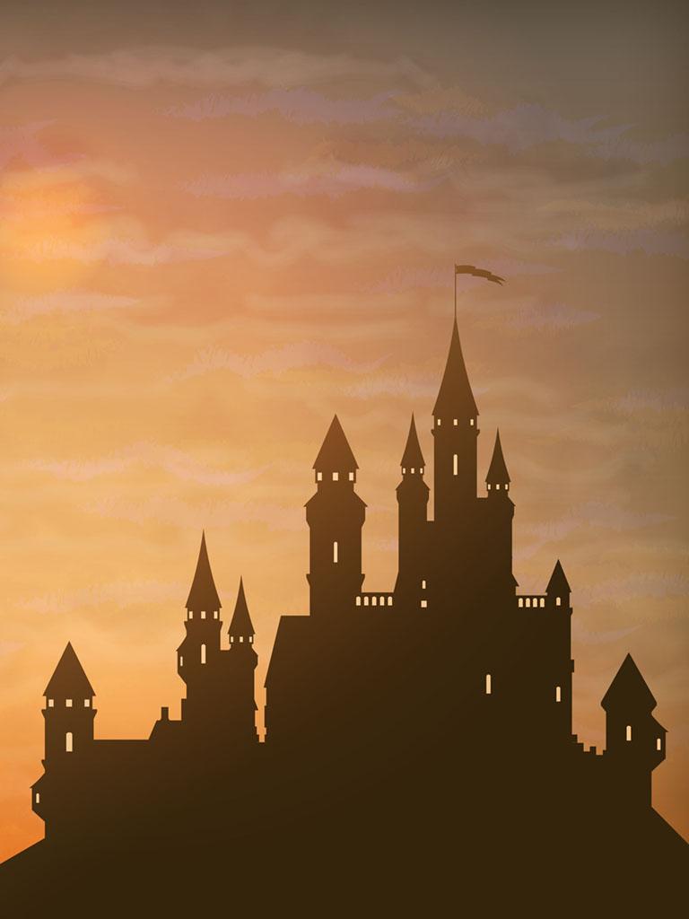 Background image castle sunset